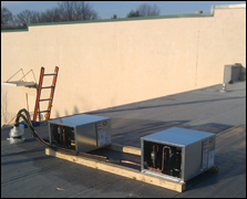 rooftop installation for commercial cooling unit