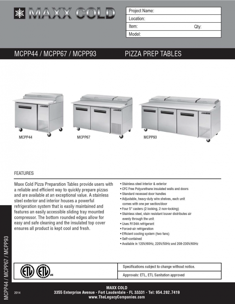 MCPP Pizza Prep Tables Spec Sheet pg1
