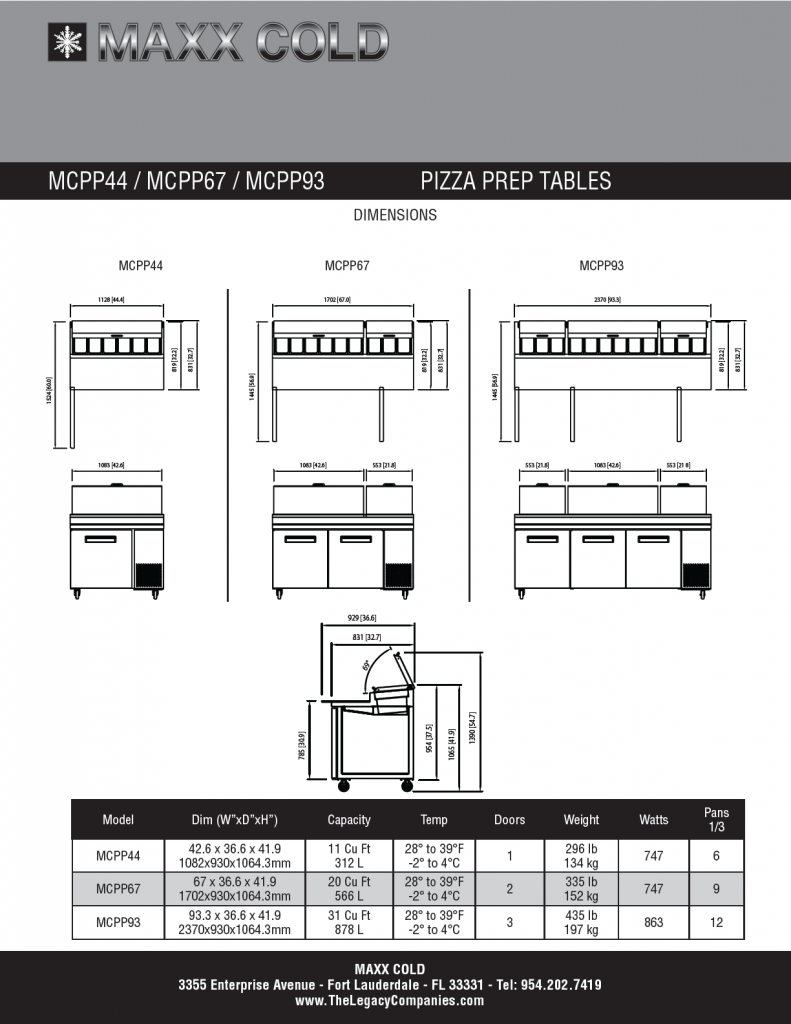 MCPP Pizza Prep Tables Spec Sheet pg2