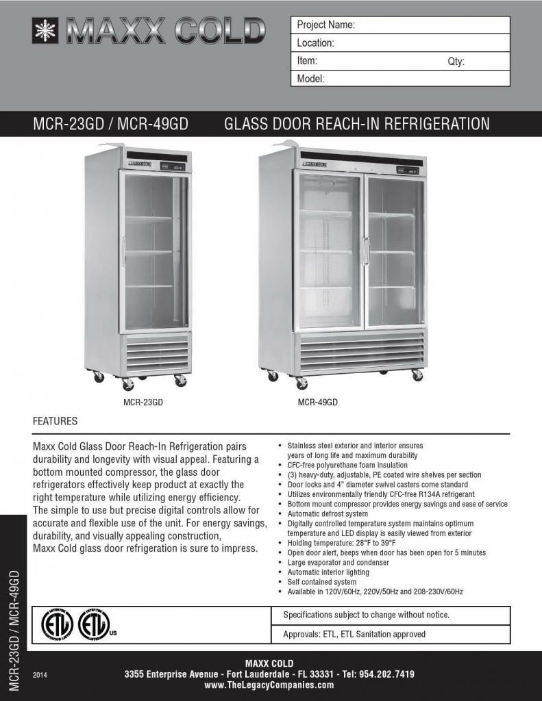 MCR-23GD -- MCR-49GD Spec Sheet pg1