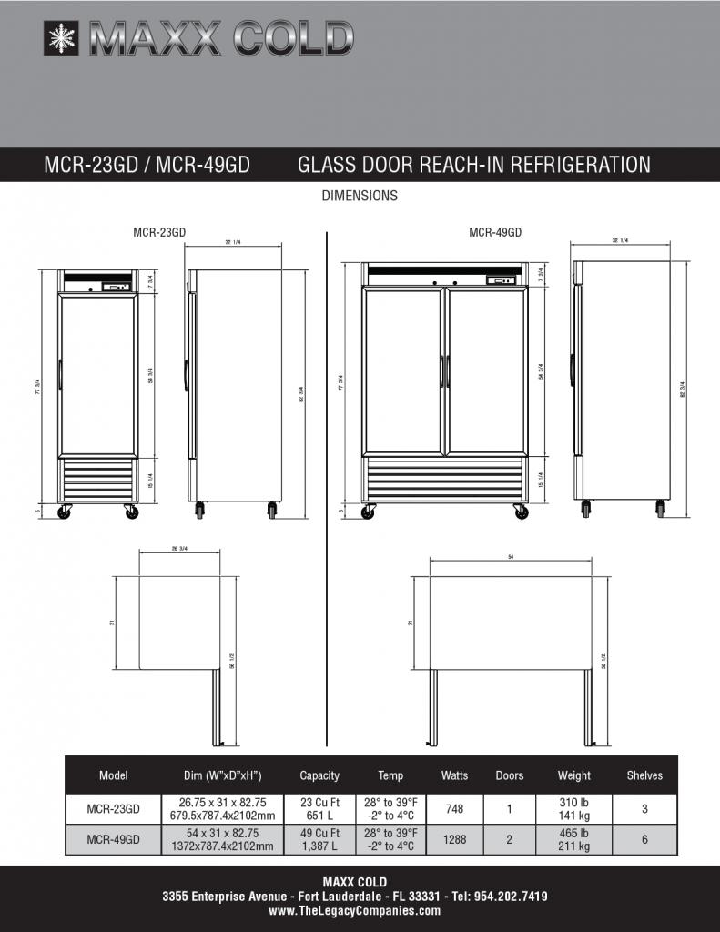 MCR-23GD -- MCR-49GD Spec Sheet pg2