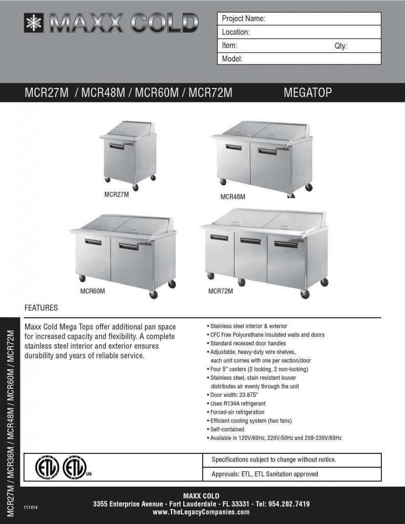 Maxx Cold Megatop Spec Sheet pg1
