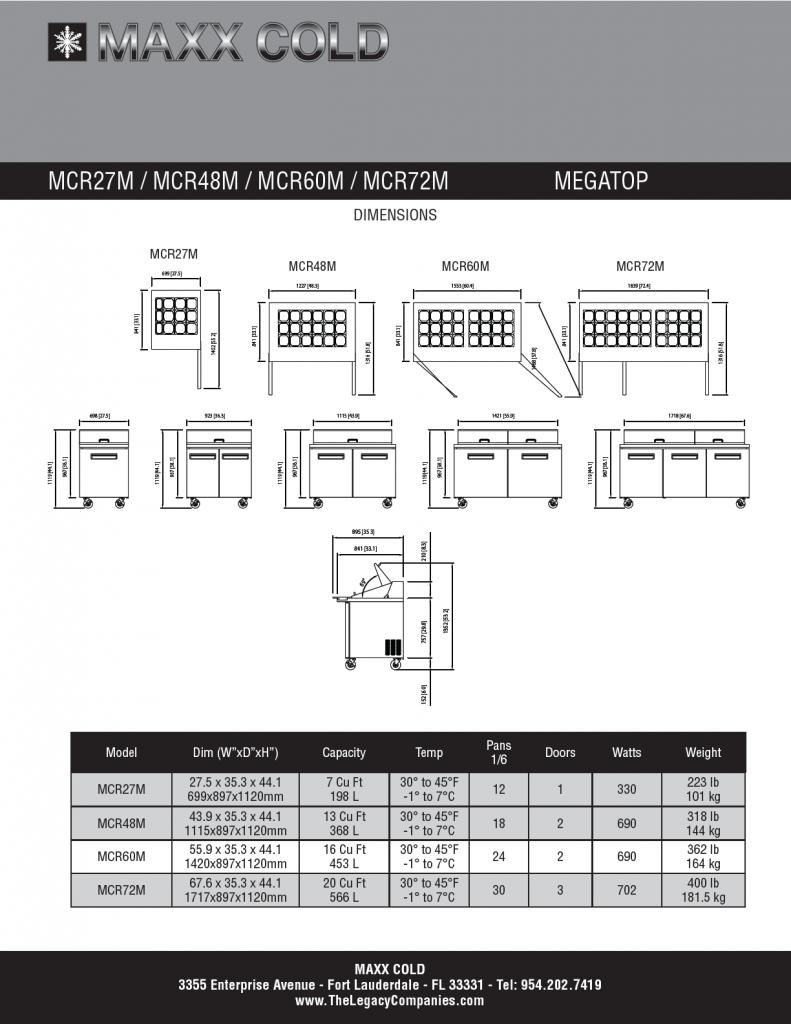 Maxx Cold Megatop Spec Sheet pg2