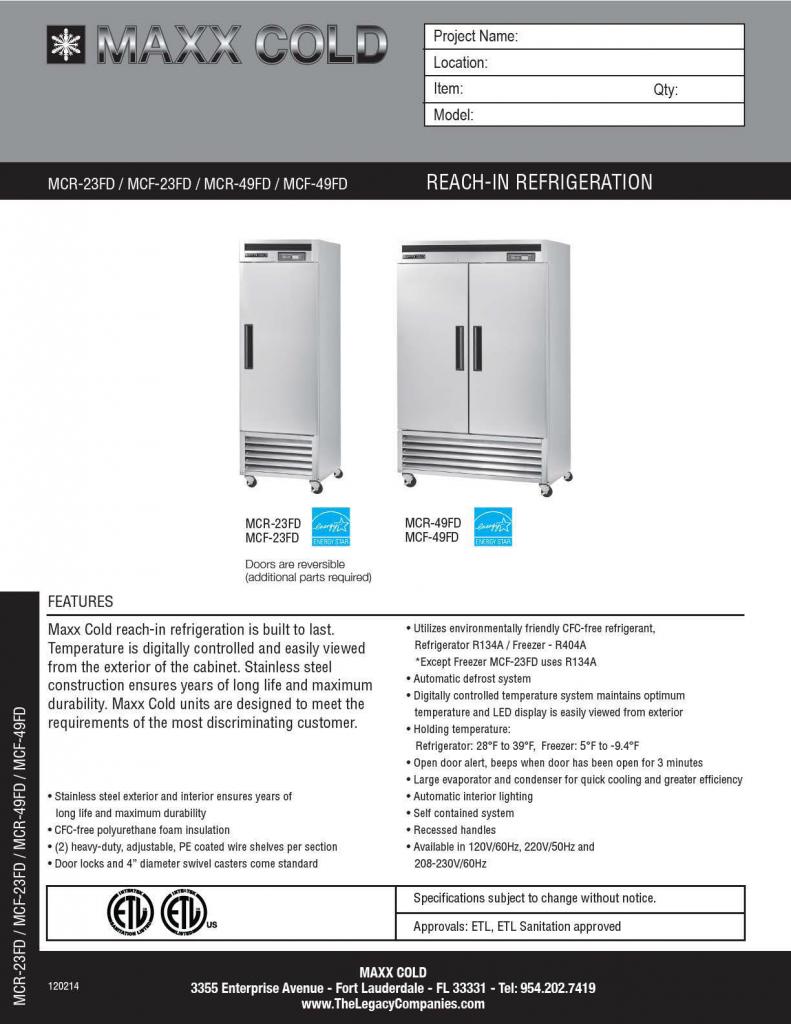 Maxx Cold RI Ref Spec Sheet pg1
