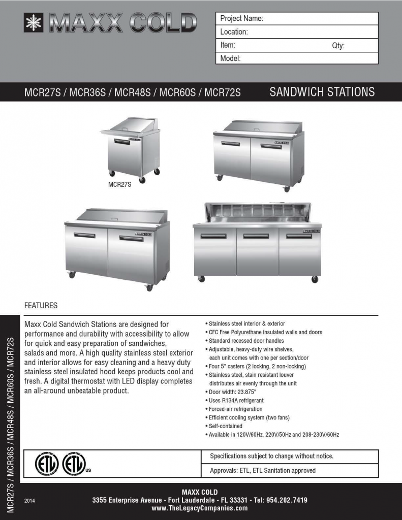 Maxx Cold Sandwich Station Spec pg1