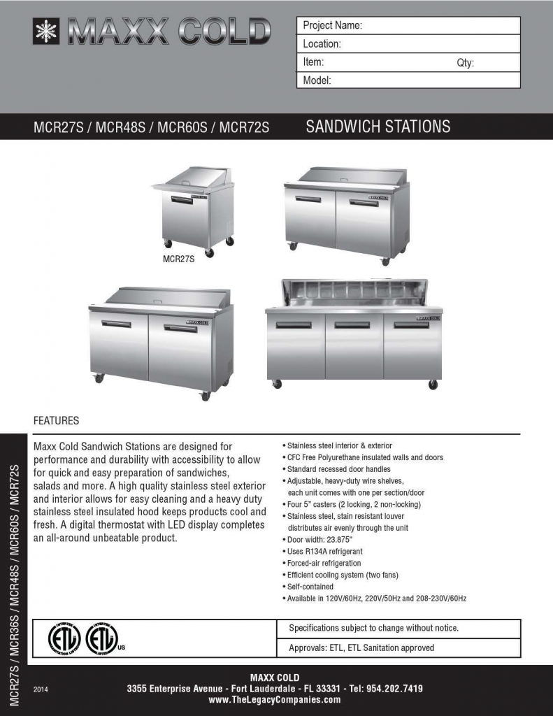 Maxx Cold Sandwich Station Spec pg3