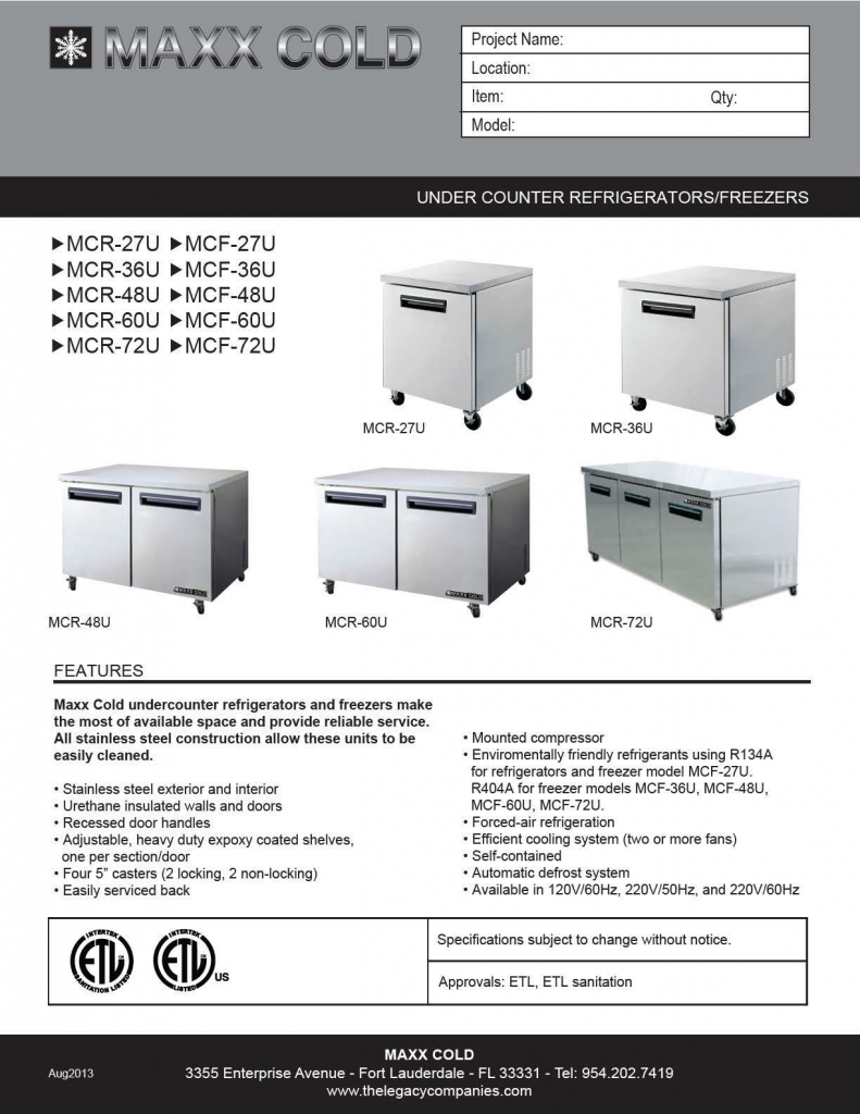 Maxx Cold Under Counter pg1